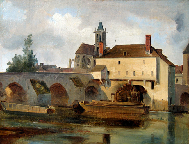 JEAN-BAPTISTE CAMILLE COROT Moret sur Loing, le pont et l'église (1822) Oil on paper laid down on canvas 11¾ x 15¼ inches (30 x 39 cm) SOLD
