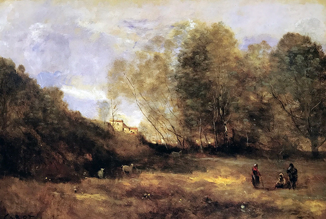 JEAN-BAPTISTE CAMILLE COROT    Chevrières en Vue d'un Village   Oil on canvas 14½ x 21 inches (36.8 x 53.3 cm)  SOLD