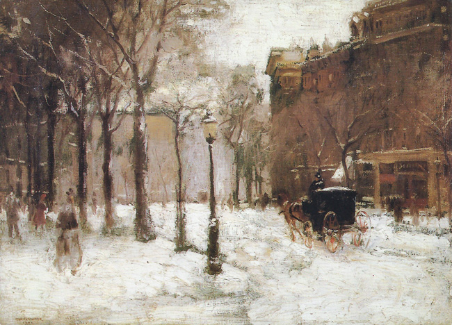 PAUL CORNOYER  Winter in New York   Oil on canvas 18 x 24 inches  SOLD