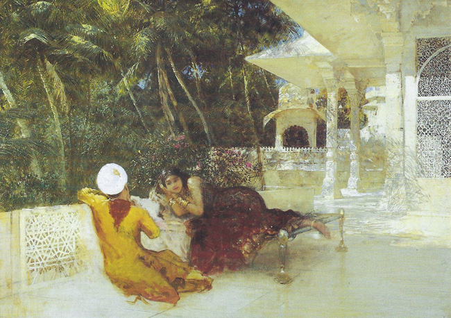 EDWIN LORD WEEKS  Love-making at Oodeypore   Oil on canvas 26 x 37 inches  SOLD