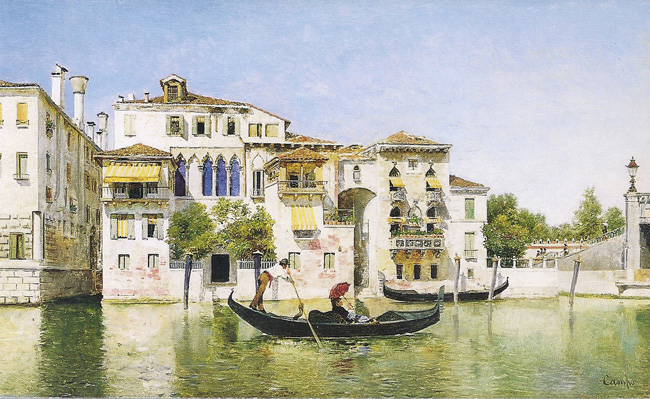 FEDERICO DEL CAMPO  Venice   Oil on panel 8¾ x 14¾ inches  SOLD