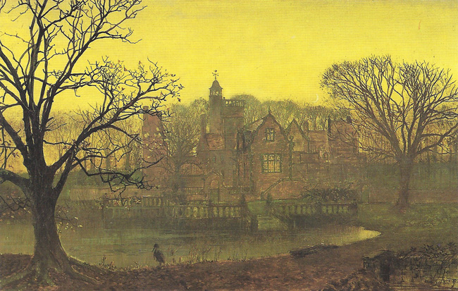 JOHN ATKINSON GRIMSHAW  Knostrop Old Hall   Oil on canvas 18 x 29 inches  SOLD