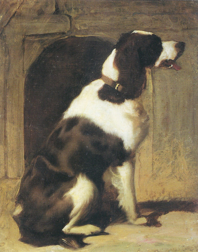 SIR EDWIN LANDSEER  A Pointer   Oil on canvas 11 1/2 x 9 3/4 inches  SOLD