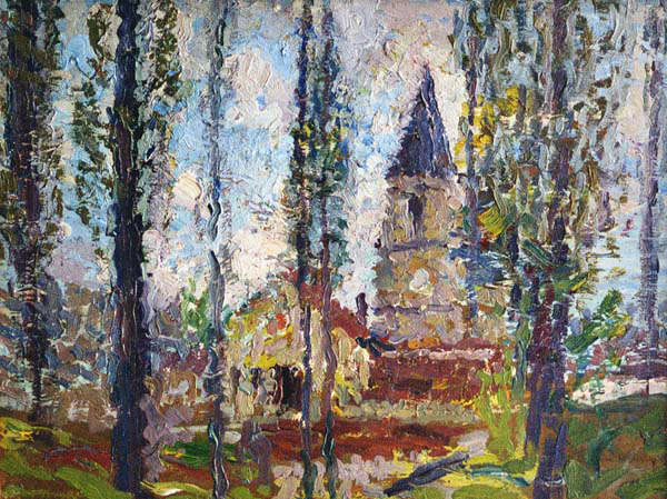 HENRI MARTIN L'Eglise Oil on panel 10¾ x 13 inches (27.2 x 33 cm.) SOLD