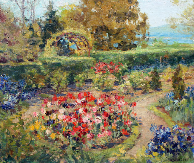 ARTHUR WILLIAM WOELFLE    A Garden in Bodensee   Oil on canvas 25 x 30 inches (63.5 x 76.3)  SOLD