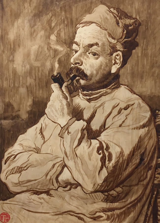 LUCIEN OTT  Homme à la Pipe   Watercolor on paper 22 x 16 inches (55.9 x 40.6 cm.)  SOLD