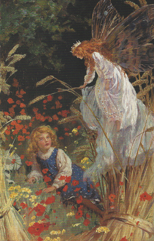 PERCY TARRANT  The Fairy's Visit    Oil on board 9 x 6 inches  SOLD