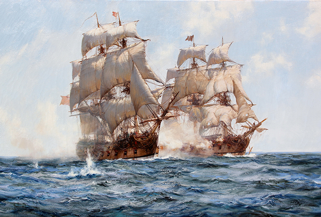 MONTAGUE DAWSON  Sea Action   Oil on canvas 28 x 42 inches (71 x 106.7 cm)  SOLD