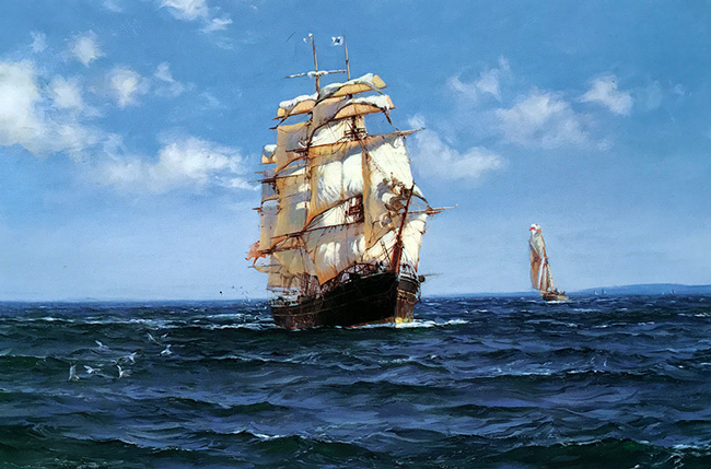 MONTAGUE DAWSON    Picking up the Pilot - The Cliffe - Crest of the Wave - built in 1853   Oil on canvas 20 x 30 inches (50.8 x 76.2 cm)  SOLD