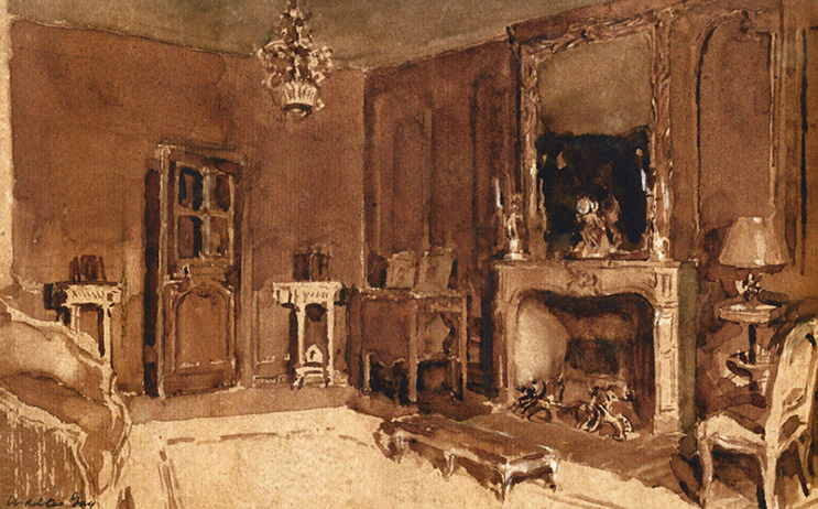 WALTER GAY Interior with Fireplace Brown wash heightened with white on paper 8¾ x 13½  inches (22.5 x 34.2 cm) SOLD