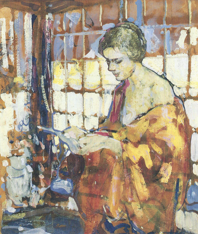 RICHARD E. MILLER  The Orange Shawl   Tempera and gouache on board 22¼ x 19 inches (56.5 x 48.2 cm.)  SOLD