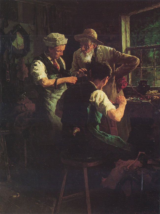 LOUIS MOELLER  At the Blacksmith's   Oil on canvas 16 x 12 inches (40.6 x 30.5 cm.)  SOLD