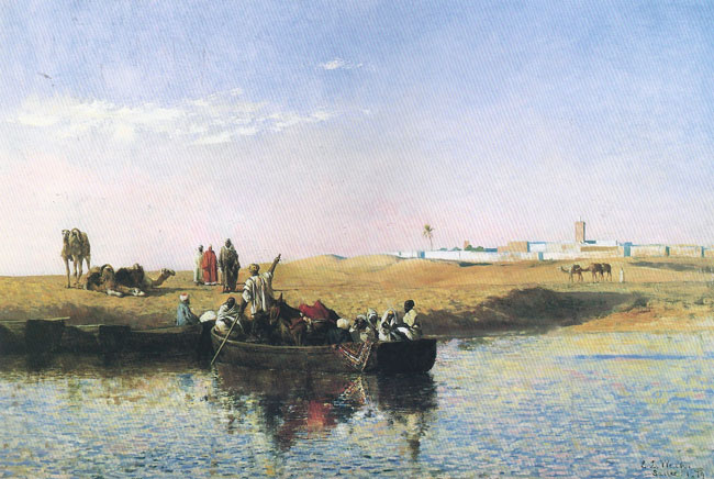 EDWIN LORD WEEKS  Scene at Salé, Morocco   Oil on canvas 24 x 36 inches (61 x 91.4 cm.)  SOLD