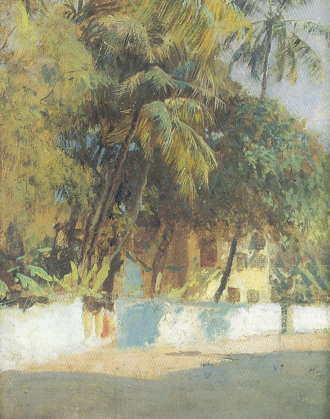 EDWIN LORD WEEKS  Street Scene, Bombay   Oil on canvas laid down on board 10¾ x 8¾ inches (27.3 x 22.3 cm.)  SOLD