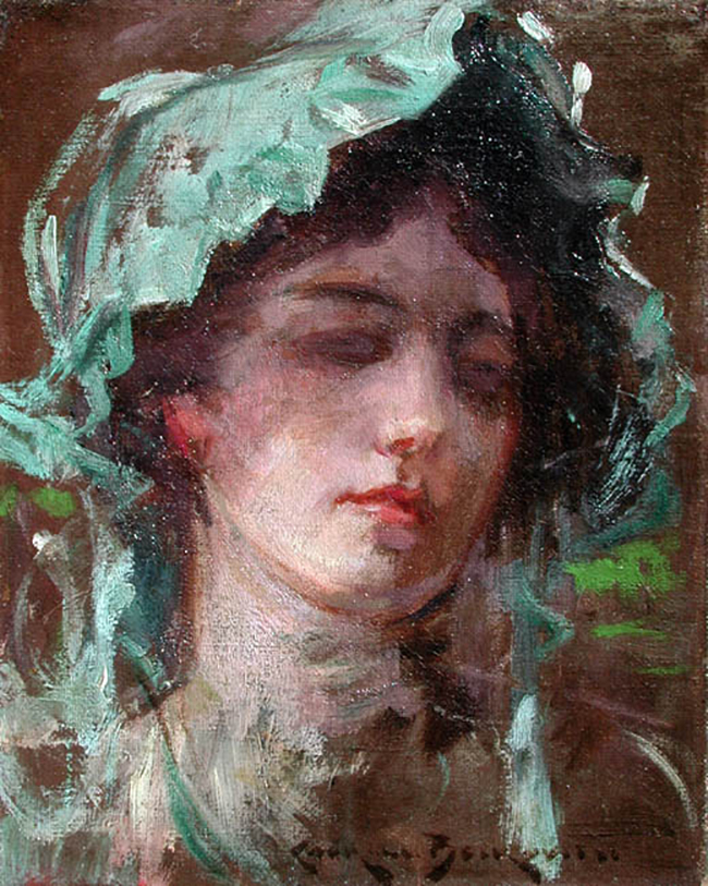 JAMES CARROLL BECKWITH  Study of a Girl    Oil on canvas 10 x 8 inches (25.3 x 20.3 cm.)  SOLD