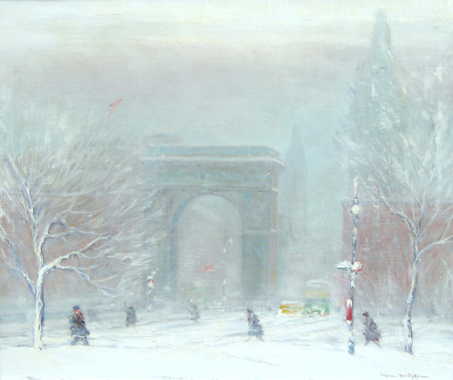 JOHANN BERTHELSEN    Washington Square, New York   Oil on canvas 20 x 14 inches (50.8 x 35.5 cm.)  SOLD