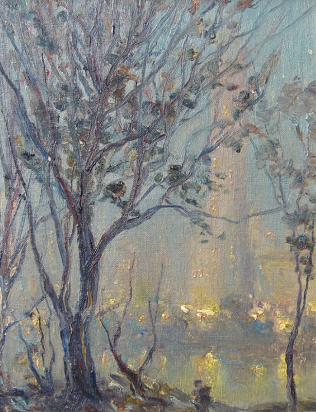 JOHANN BERTHELSEN  Central Park Nocturne   Oil on board 10 x 8 inches  SOLD