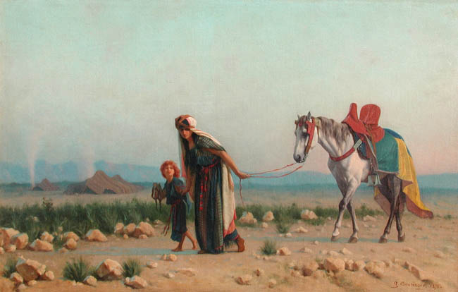 GUSTAVE BOULANGER  The Return (Hagar and Ishmael)   Oil on canvas 18 x 27 inches (45.7 x 68.5 cm.)  SOLD