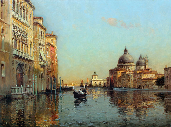 ANTOINE BOUVARD  A Canal in Venice   Oil on canvas 19¾ x 25¾ inches (50.2 x 65.4 cm.)  SOLD