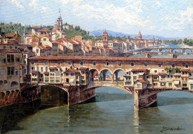 ANTONIETTA BRANDEIS  Ponte Vecchio, Florence    Oil on board 6½ x 9¼ inches (16.5 x 23.5 cm.)  SOLD