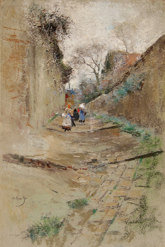 GIUSEPPE CASCIARO    Children on a Village Lane   Pastel on paper 15¾ x 10½ inches (40 x 26.5 cm.)  SOLD