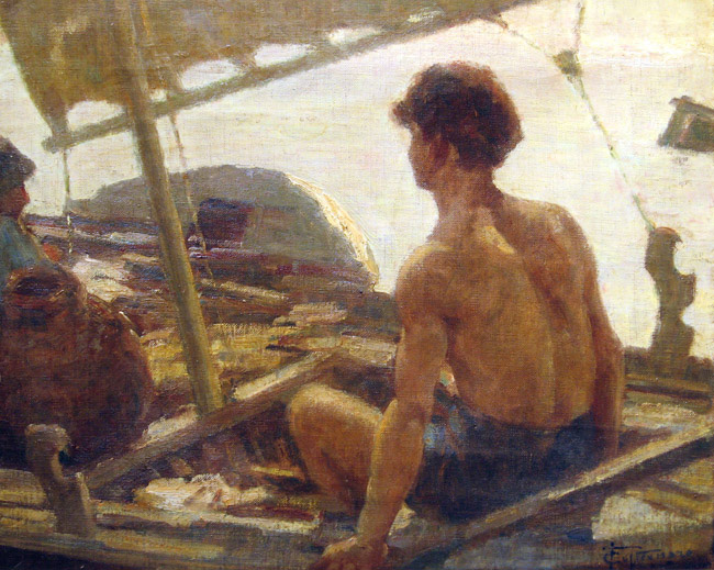 FELICE CASTEGNARO  Return of the Fisherman   Oil on canvas 13 x 15½ inches (33 x 39.3 cm.)  SOLD