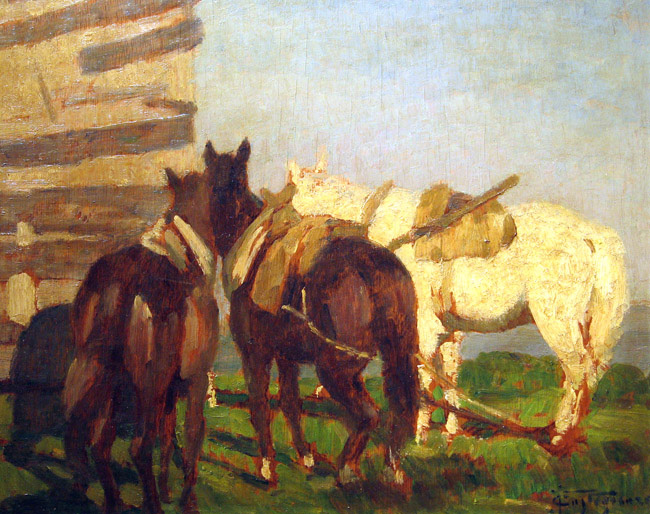 FELICE CASTEGNARO  Study of Horses   Oil on panel 13 x 16 inches (33 x 40.6 cm.)  SOLD