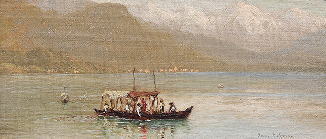 SAMUEL COLMAN    Lake Maggiore, Italy   Oil on canvas laid down on board 4¼ x 9¼ inches (10.5 x 23.5 cm.)  SOLD