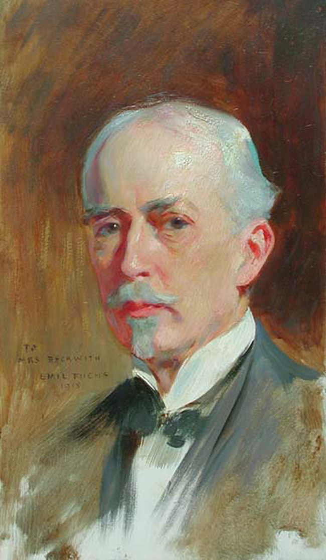 EMIL FUCHS  Portrait of the Artist Carroll Beckwith   Oil on panel 20 x 12 inches (50.8 x 30.5 cm.)  SOLD