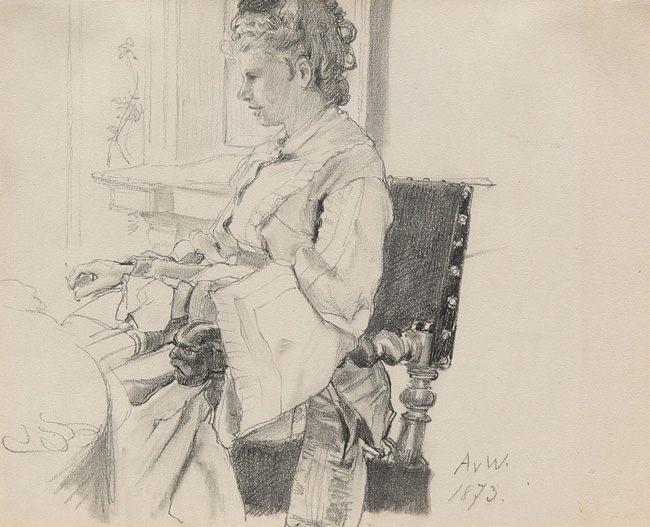 ANTON ALEXANDER VON WERNER Portrait of the Artist's Wife, Malvina Pencil on paper 8½ x 11 inches (21.1 x 28.2 cm.) $3,400 Click here for more information
