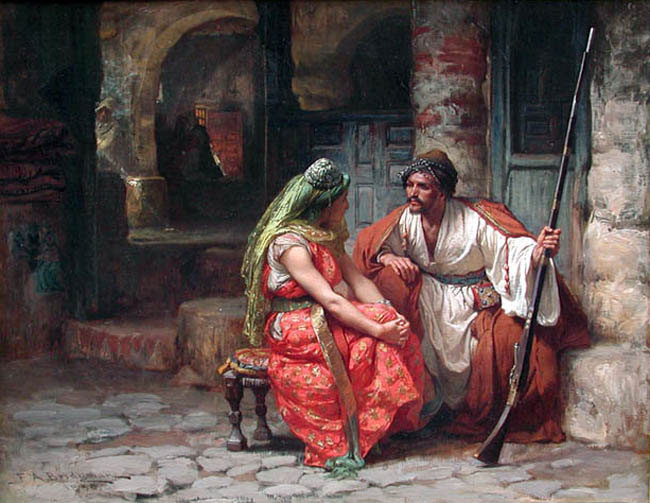 FREDERICK ARTHUR BRIDGMAN    The Conversation   (1880) Oil on canvas 15 x 19 inches (38 x 48.2 cm)  SOLD