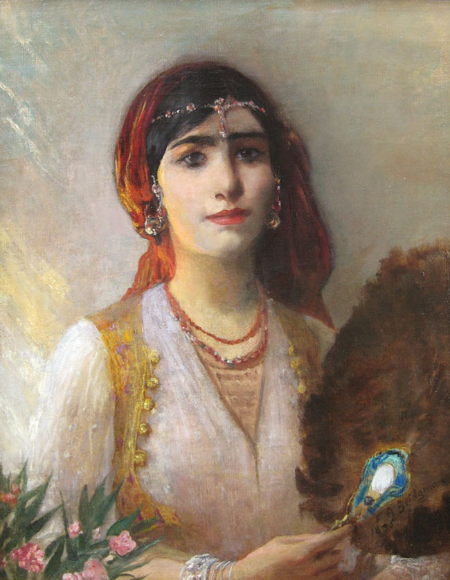 FREDERICK ARTHUR BRIDGMAN Odalisque (1895) Oil on canvas 24½  x 19¾ inches (62 x 50 cm) SOLD