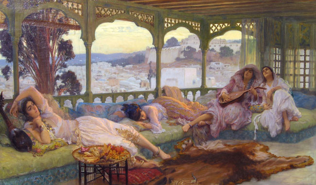 FREDERICK ARTHUR BRIDGMAN    Silence du Soir   (1895) Oil on canvas 24 x 40½  inches (61 x 103 cm)  SOLD