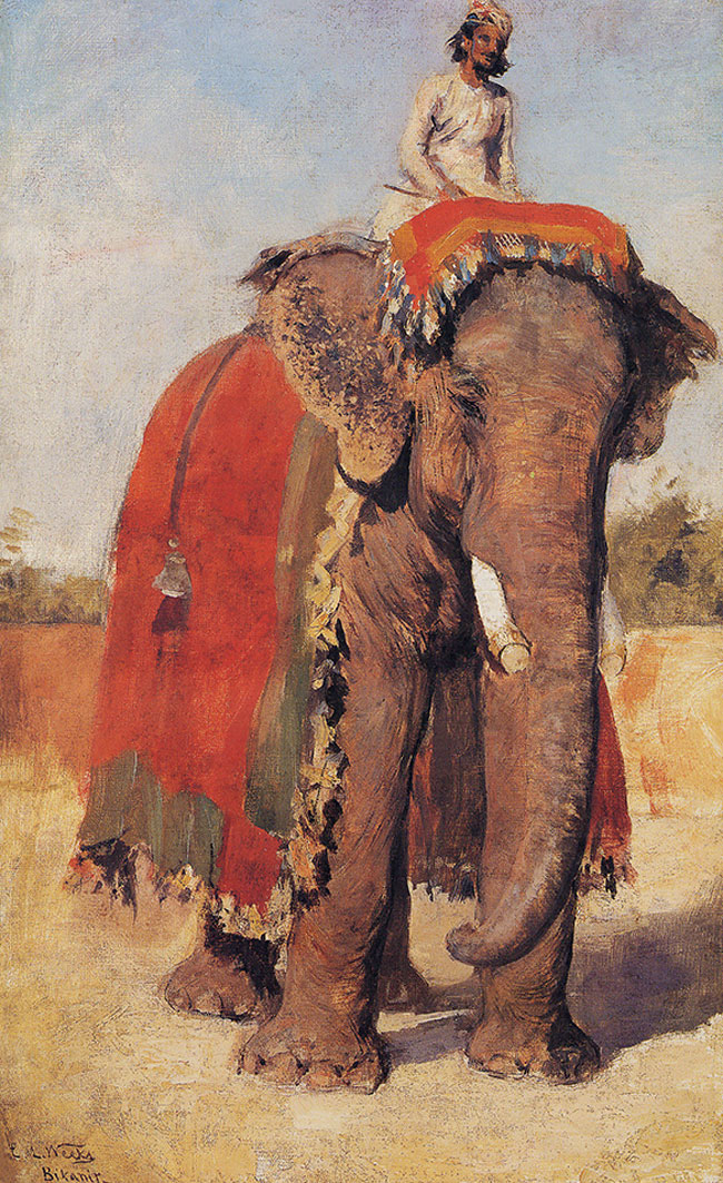 EDWIN LORD WEEKS    Elephant belonging to the Maharajah of Bikanir   Oil on canvas 20 x 13 inches (51 x 33 cm.)  SOLD
