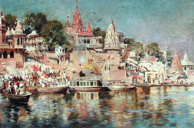 EDWIN LORD WEEKS    Temples and Steps – Benares, India   (1883) Oil on canvas 18½ x 28 inches (47 x 71 cm.)  SOLD