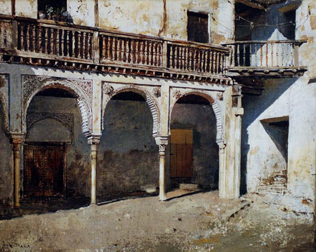EDWIN LORD WEEKS    Courtyard in Granada   Oil on canvas 18¾ x 23½ inches (47.6 x 59.7 cm.)  SOLD