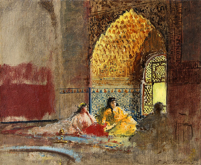 EDWIN LORD WEEKS    Interior of La Torre des Infantas, The Alhambra   Oil on canvas 10 x 12¼ inches (25.4 x 30.5 cm) $24,000 Click here for more information