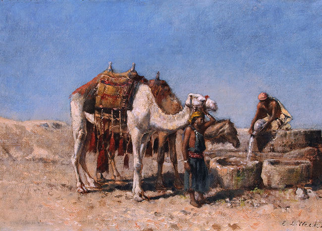 EDWIN LORD WEEKS  Camels at a Well, Tangiers   Oil on canvas 10½ x 15½ inches (26.6 x 39.3 cm) $13,000 Click here for more information