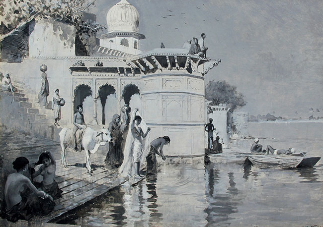EDWIN LORD WEEKS    Along the Ghats, Mathura   Oil on board 16½ x 23 inches (42 x 58.3 cm)  SOLD