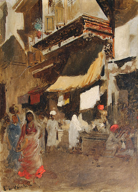 Street Scene in Bombay   Oil on board 8¾ x 6¼ inches (22 x 16 cm) $14,000 Click here for more information