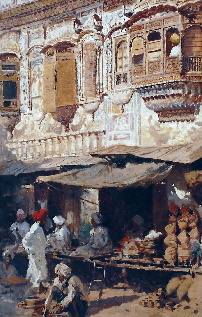 EDWIN LORD WEEKS    Shops in Native Quarter—Lahore, India   Oil on canvas 20 x 12½ inches (50.8 x 31.7 cm.)  SOLD