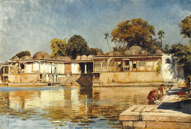 EDWIN LORD WEEKS    Palace and Lake at Sarkeh, near Ahmedabad, India   Oil on canvas 20½ x 30½ inches (52 x 77.5 cm.)  SOLD
