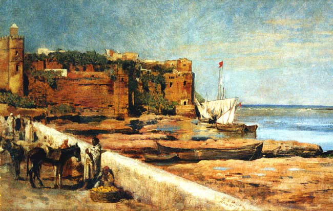 EDWIN LORD WEEKS    Ramparts du Quartier du Ondais, Rabat   (1879) Oil on canvas 12 x 19½ inches (30.5 x 50 cm.)  SOLD