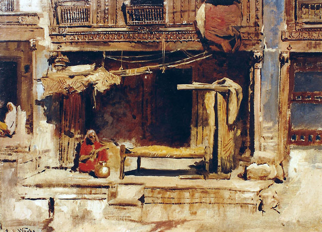 EDWIN LORD WEEKS    In the Native Quarter - Ahmedabad   Oil on canvas 12 x 16 inches (30.5 x 40.6 cm.)  SOLD
