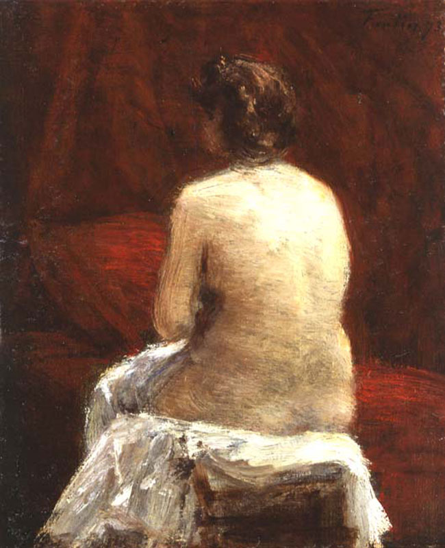 HENRI FANTIN-LATOUR  Nude   (1873) Oil on canvas 12 x 10 inches (30.5 x 25.4 cm.)  SOLD