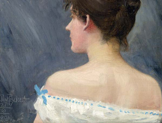 PAUL FISCHER    Portrait of a Lady   (1901) Oil on canvas 10 x 12¼ inches (25 x 31 cm.)  SOLD