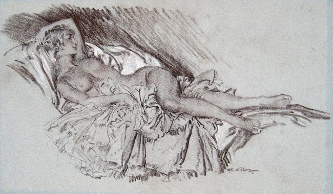 SIR WILLIAM RUSSELL FLINT  Arabella   Chalk heightened with white on paper 10 x 16 inches (25.5 x 40.6 cm.)  SOLD