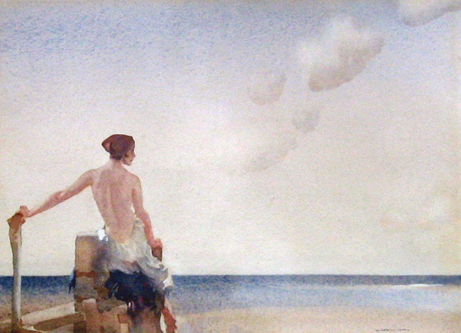 SIR WILLIAM RUSSELL FLINT  Ariadne   Watercolor 10¼ x 13½ inches (26 x 34.5 cm.)  SOLD