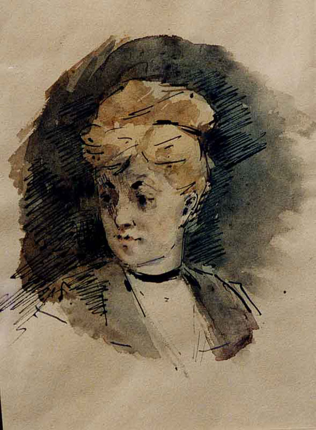 JEAN-LOUIS FORAIN Portrait of a Lady Pen and watercolor on paper 9¼ x 6 inches (23.5 x 15.2 cm.) SOLD