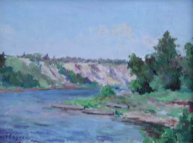 PAUL LÉON FREQUENEZ  A River in Summer   Oil on paper 7 x 9 inches (18 x 24 cm.)  SOLD